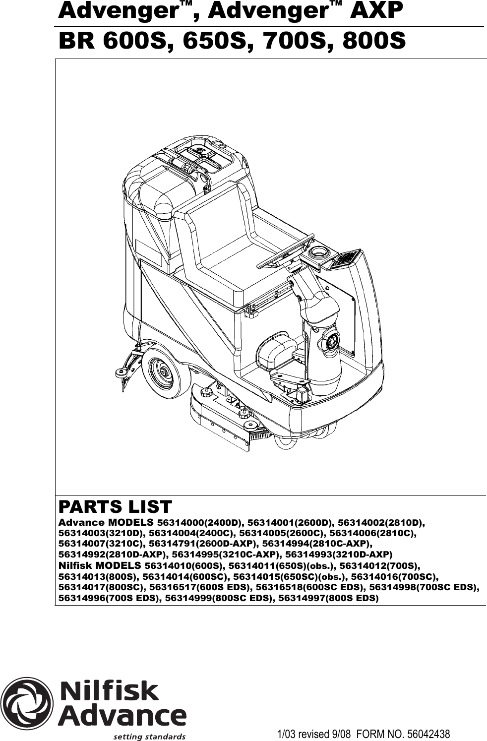 advance advenger 3210d parts manual