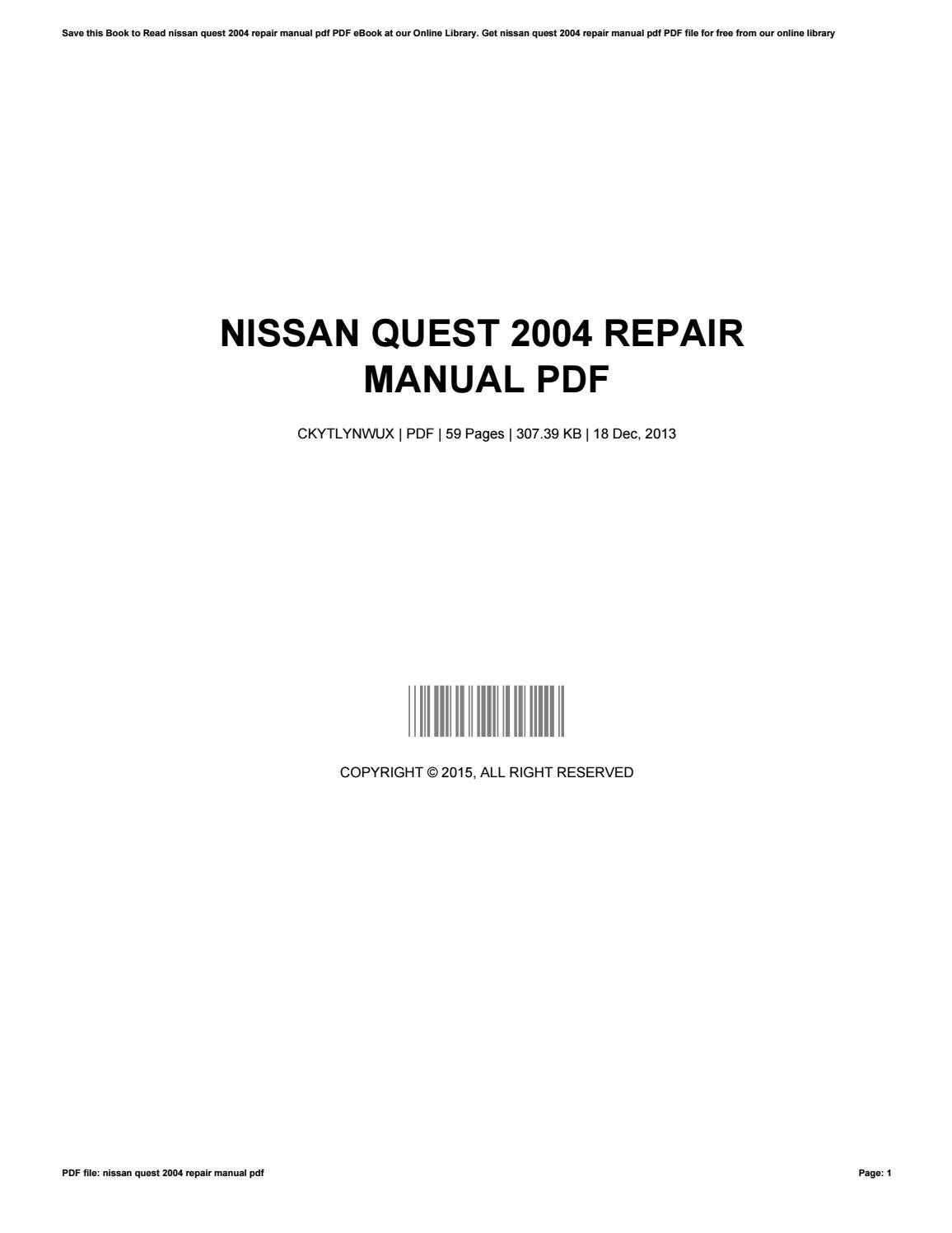 2004 nissan quest service manual