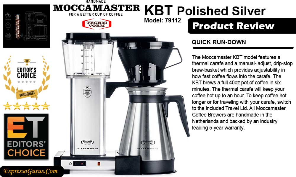 technivorm moccamaster manual drip stop coffee maker with thermal carafe