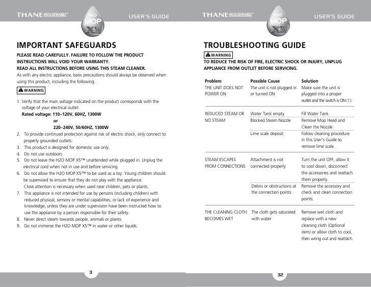h2o x5 steam mop instruction manual