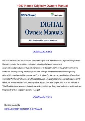 honda odyssey repair manual pdf